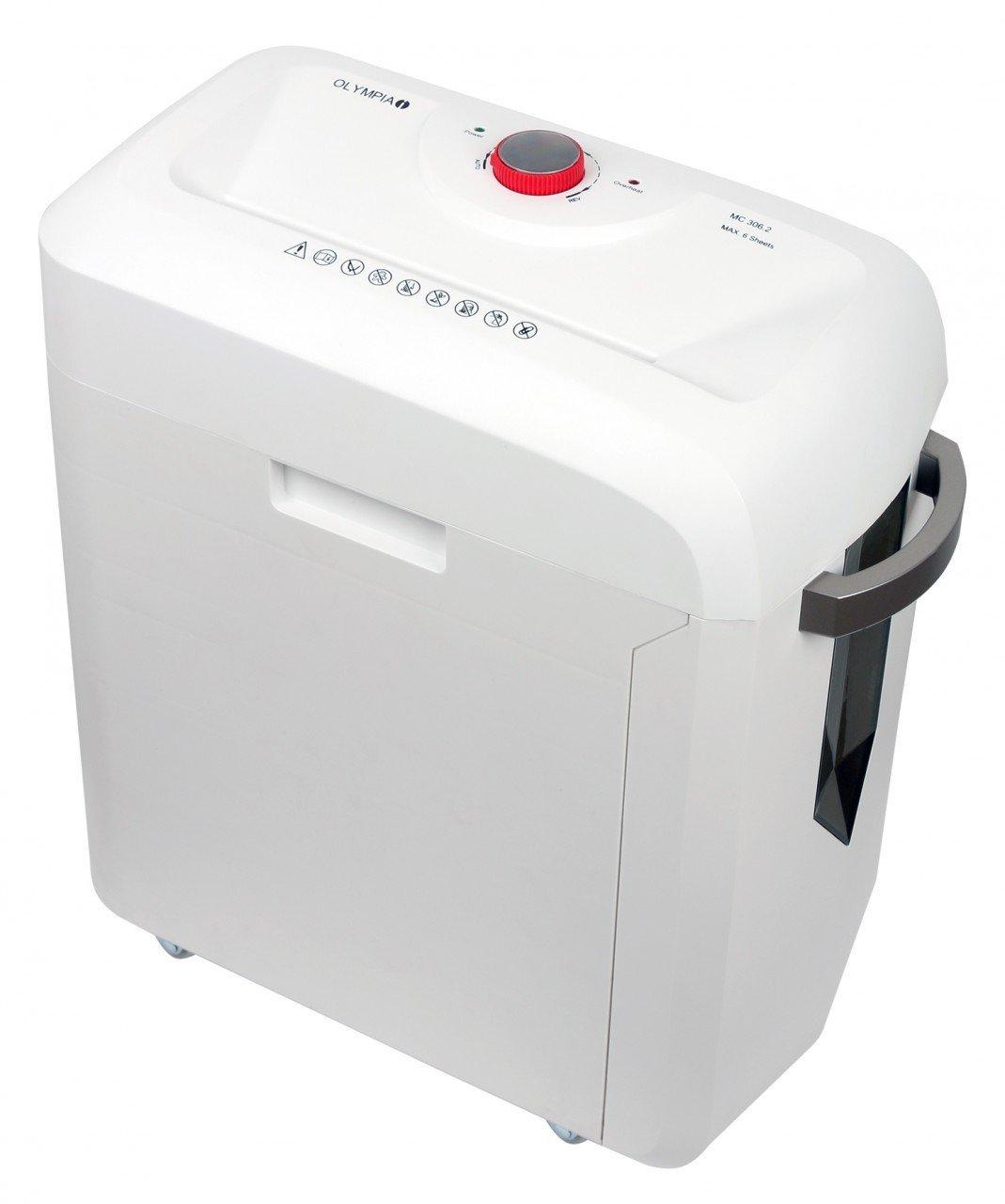 Olympia MC 306.2Micro-cut Shredding, 62dB weiß Aktenvernichter–Papier-Zerstörer (micro-cut Shredding, 22cm, 19l, 62dB, Knöpfe, 6min) 2627