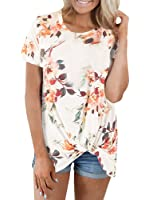 Farktop Women's Front Side Knot Print Boutique Short Sleeves T-Shirts Tops