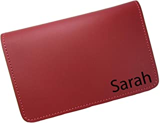 product image for Personalized First Name or Monogram Leather Top Stub Checkbook Cover, Red