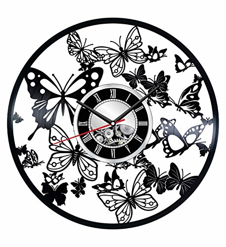 Butterfly Wall Clock Made of Vintage Vinyl Records - Stylish clock and Amazing Gifts Idea – Unique Home Decor – Personalized Presents for Men Women Kids – Living Room Bedroom Art – Handmade 12 Inches -
