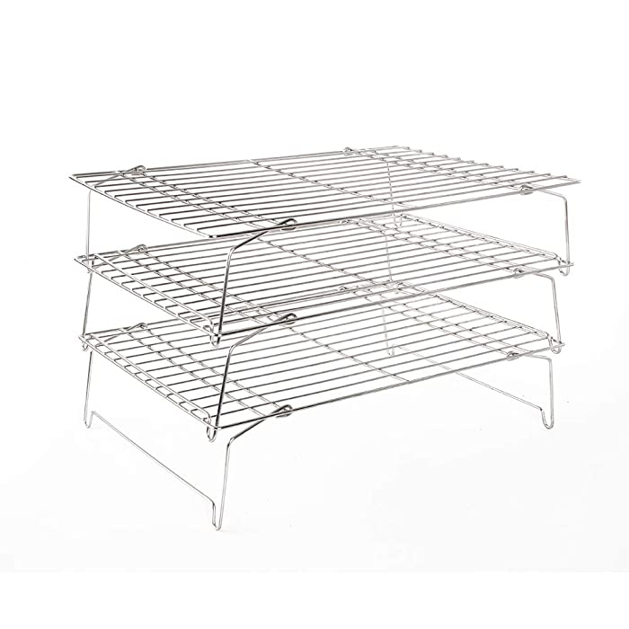 Flagship 304 Grade Stainless Steel Stackable Kitchen Silver Cooling Rack Set with Collapsible Folding Legs for Baking Cooking Grilling(3-Tier)