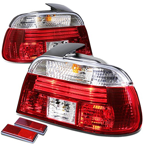 For BMW E39 5-Series 4Dr Pair of Chrome Housing Red Rear Brake+Signal Tail Light ()