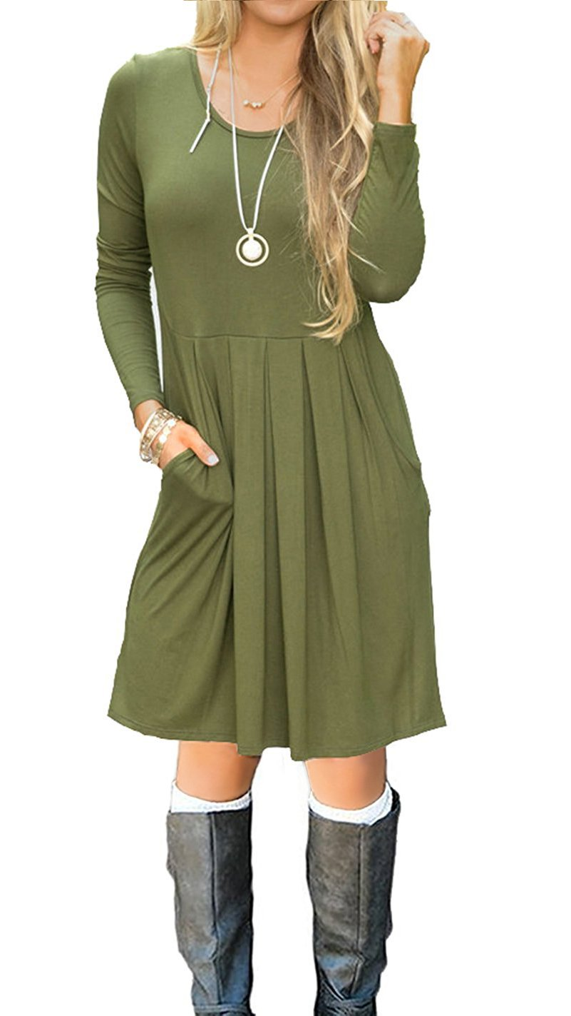 I2CRAZY Women's Casual Pleated Loose Swing T-Shirt Dress with Pockets Knee Length(02-Long Sleeve-Army Green,M)