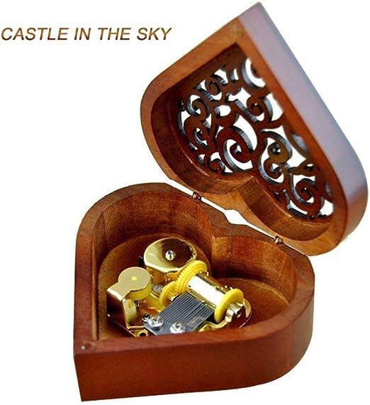 SummarLee Música Caja Musical Caja corazón Forma Madera Tallada Mecanismo niñas Regalo para Navidad día de San Valentín melodía Castillo en el Cielo: Amazon.es: Hogar