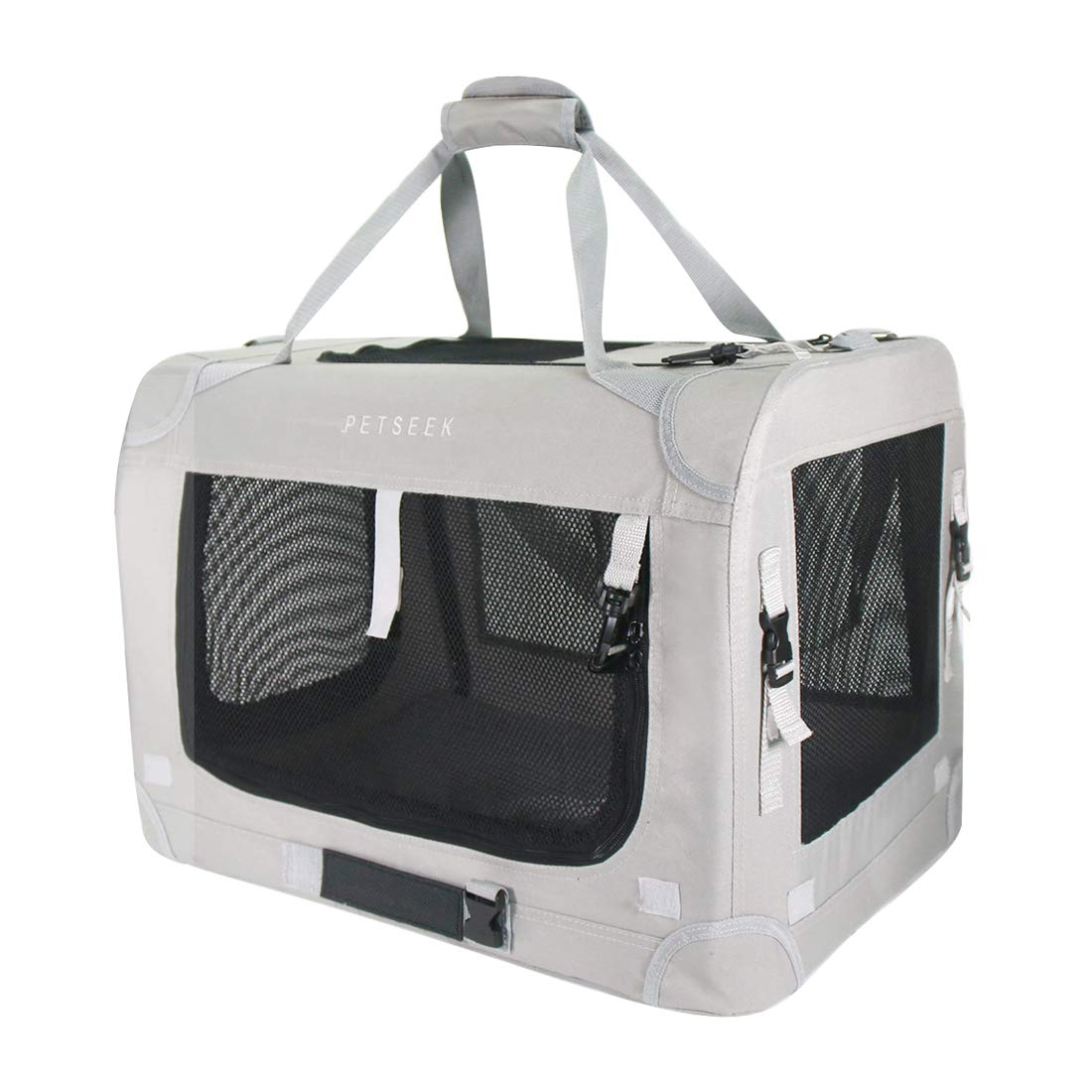 Petseek Extra Large Cat Carrier Soft Sided Small Medium Dog Pet Carrier 24''x16.5''x16'' Travel Collapsible Ventilated Comfortable Design Portable Vehicle