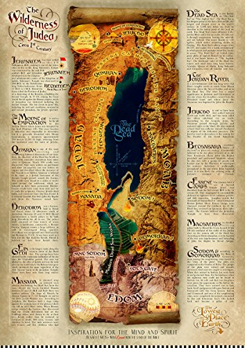 Wilderness of Judea & The Dead Sea Biblical / Historical, laminated, wall hanging, satellite map study sheet poster (A3 11.7 x 16.5 in) for a better understanding of the Bible.
