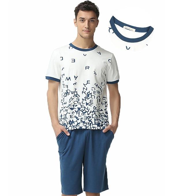 cce662d1d5ba QIANXIU Men's Summer Cotton Short Sleeve Sleepwear Shorts and Top Pajama Set  at Amazon Men's Clothing store: