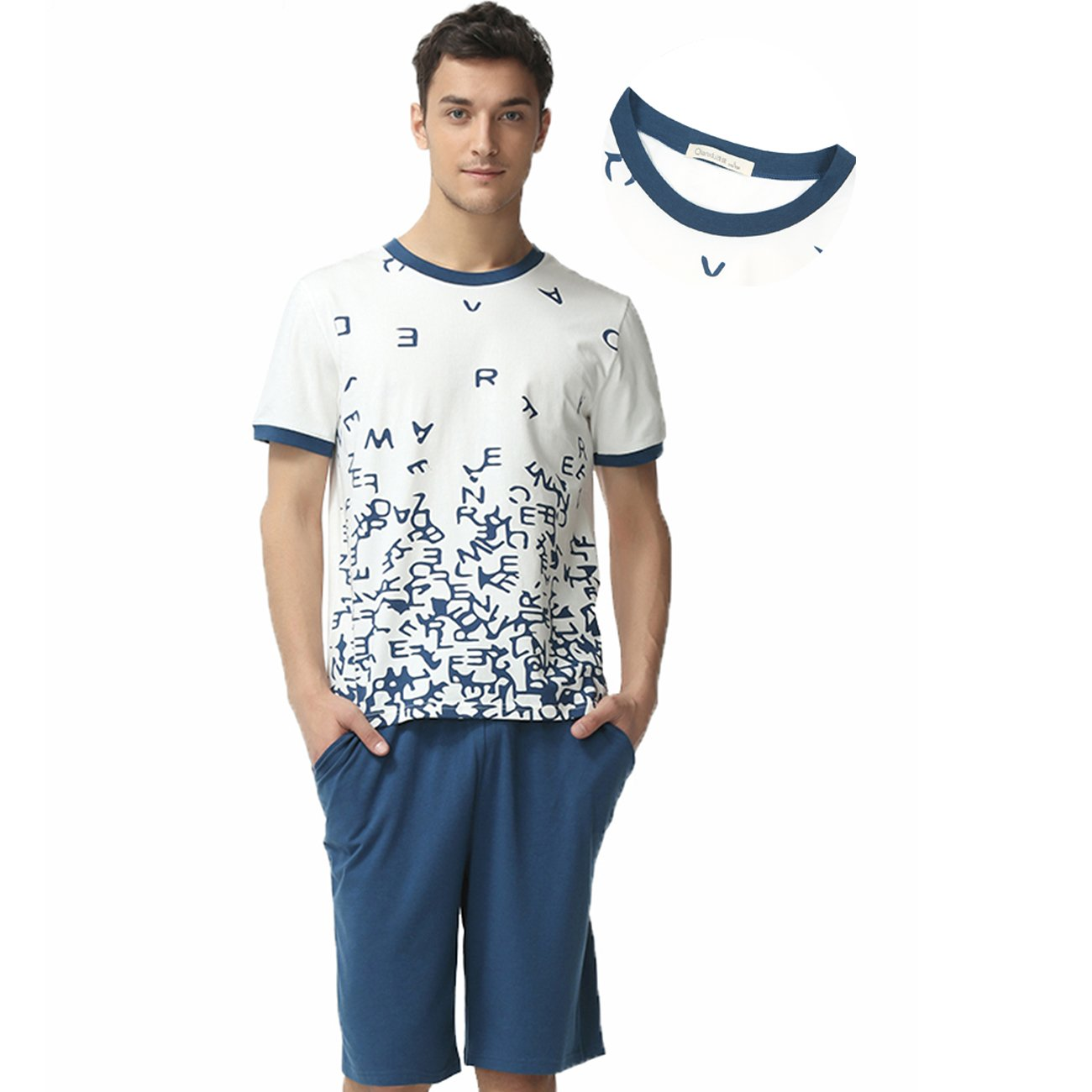 QIANXIU Men's Summer Cotton Short Sleeve Sleepwear Shorts and Top Pajama Set