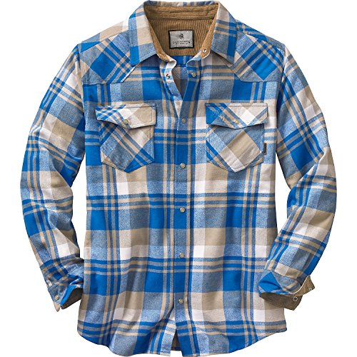 Legendary Whitetails Men's Shotgun Western Flannel, Liberty Blue Range Plaid, - Snap Pearl Shirt Western Slim