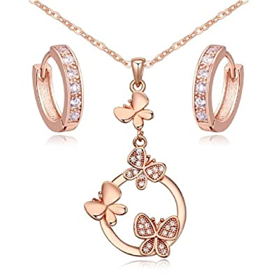 ec430d44e54 Image Unavailable. Image not available for. Color  Butterflies Set White  Zirconia Crystals Pendant Necklace 18 quot  Huggies Earrings 18 ct Rose Gold  Plated