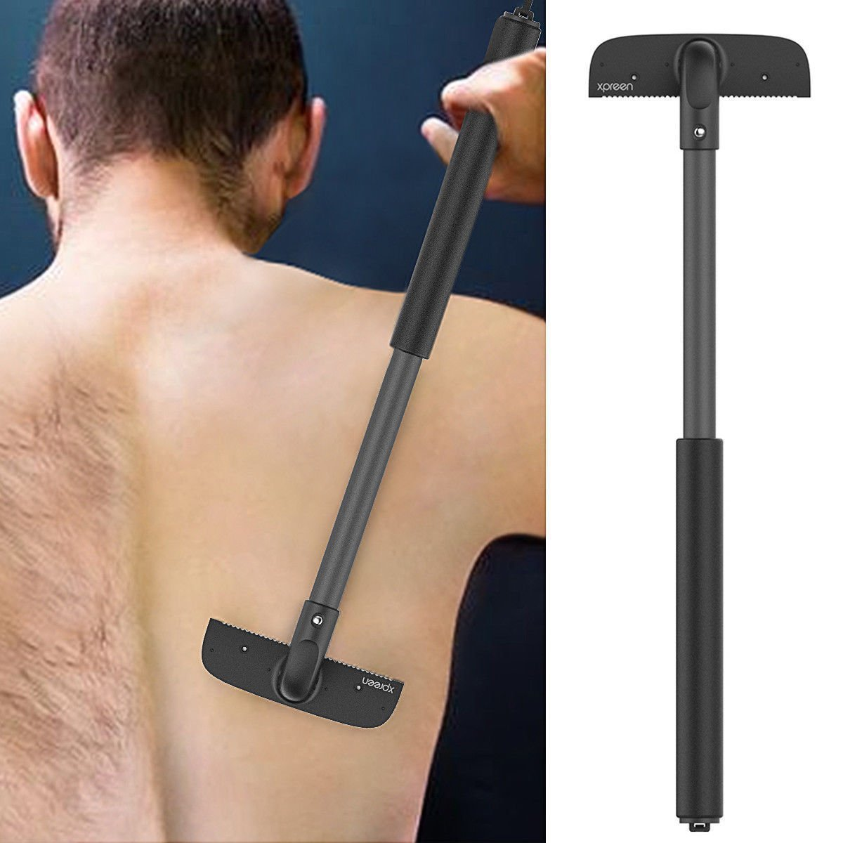 Back Shaver - Stretchable Back Shaver, Dry Wet Mens Body Grooming Hair Trimmer Removal Razor