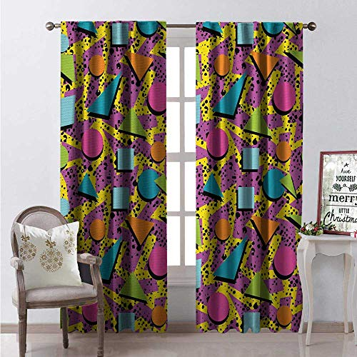 Hengshu Colorful Room Darkening Wide Curtains Vibrant Colored Vintage Memphis Pattern in Eighties Fashion Funky Hipster Art Waterproof Window Curtain W120 x L108 0