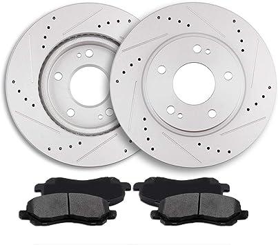 Front Rear Disc Rotors /& Ceramic Brake Pads Fits Mitsubishi Galant