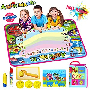 AiToy Aqua Magic Mat, Water Drawing Mat Extra Large Kids Toys Toddlers Painting Board Writing Mats with 2 Magic Pens and Letter Templates for Boys Girls Gift (39.5