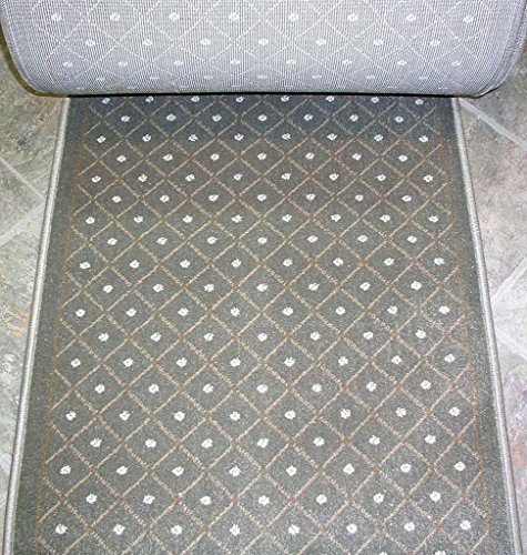 """Rug Depot 157620 Royale 782 Sage Green Casual Trellis Hall and Stair Runner - 26"""" Wide Hallway Rug Runner - Custom Sizing - Green Background - Choose Your Length - 26"""" x 10 feet"""