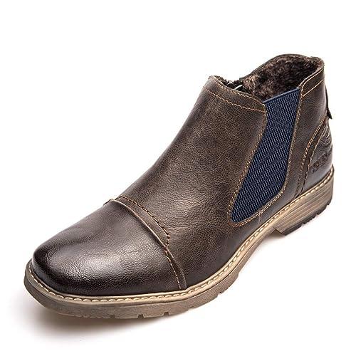 Botas Chelsea para Hombre Slip On Zip Botines De Invierno Calzado Casual De Cuero De Piel para Hombre En MarróN: Amazon.es: Zapatos y complementos