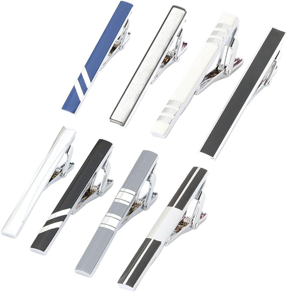 GWD Men Tie Bar Clip Set for 2.1 Inch Metal Clasps Business Fashion