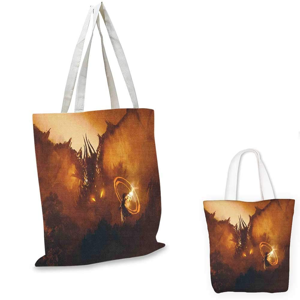 Fantasy canvas messenger bag Calling of the Dragon Magician for Evil Powers of the Universe Artwork Print foldable shopping bag Orange Brown 14x16-11