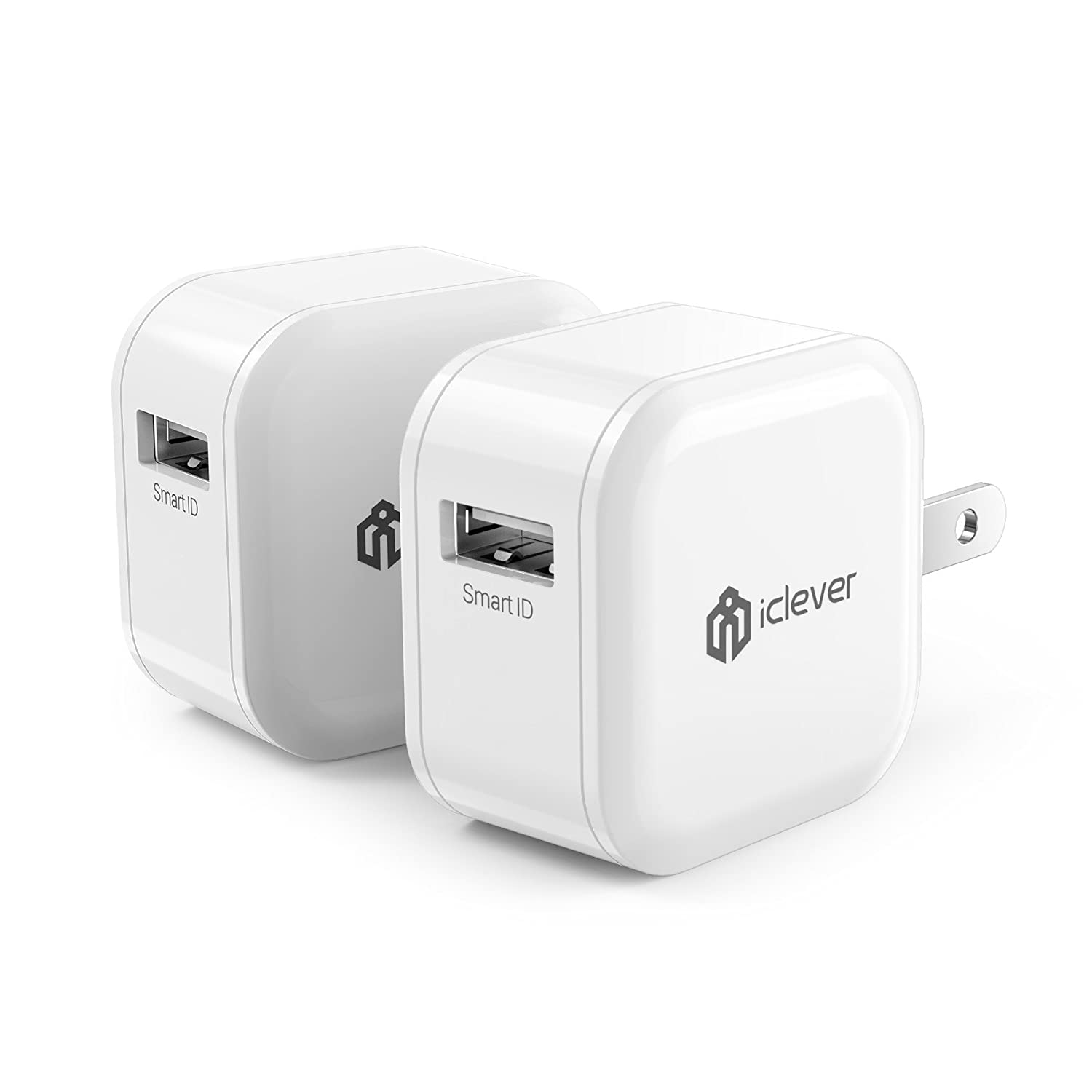 iClever USB Charger 2.4A 12W 2-Pack Wall Charger, Fast Quick Charger Adapter, Portable Travel Charger Cube with Foldable Plug for iPhone Xs/XS Max/XR/X/8/7/6/Plus, iPad Pro/Air/Mini/Samsung and More