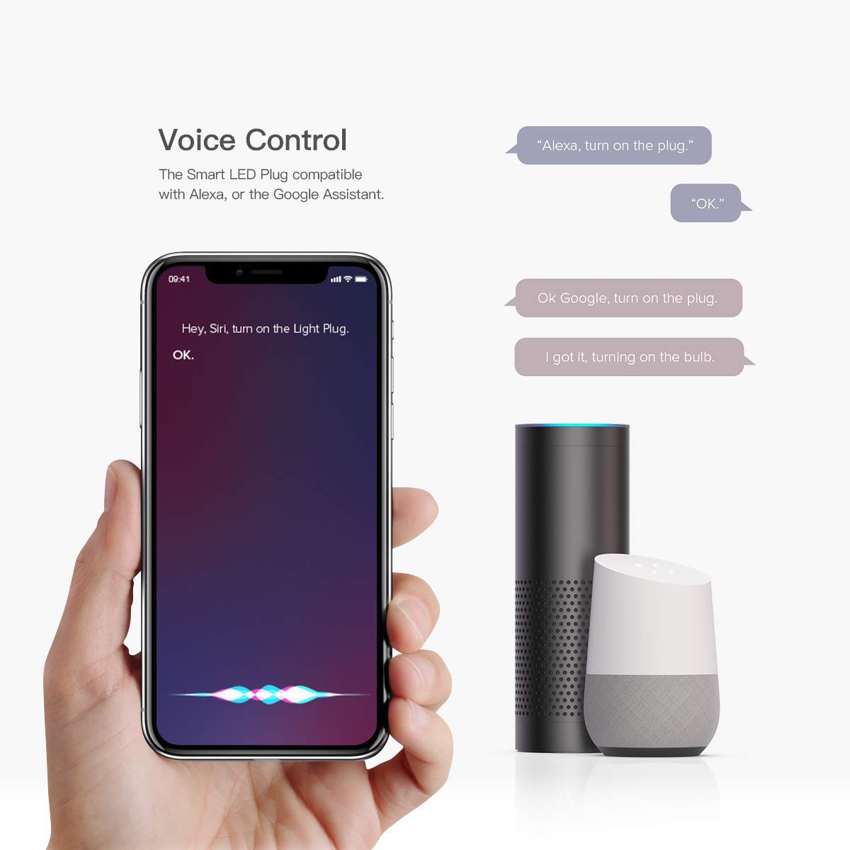 Alexa and Google Assistant for iOS and Android Devices Remote Control Smart WiFi Plug Koogeek WiFi Outlet Mini Socket Works with Apple HomeKit