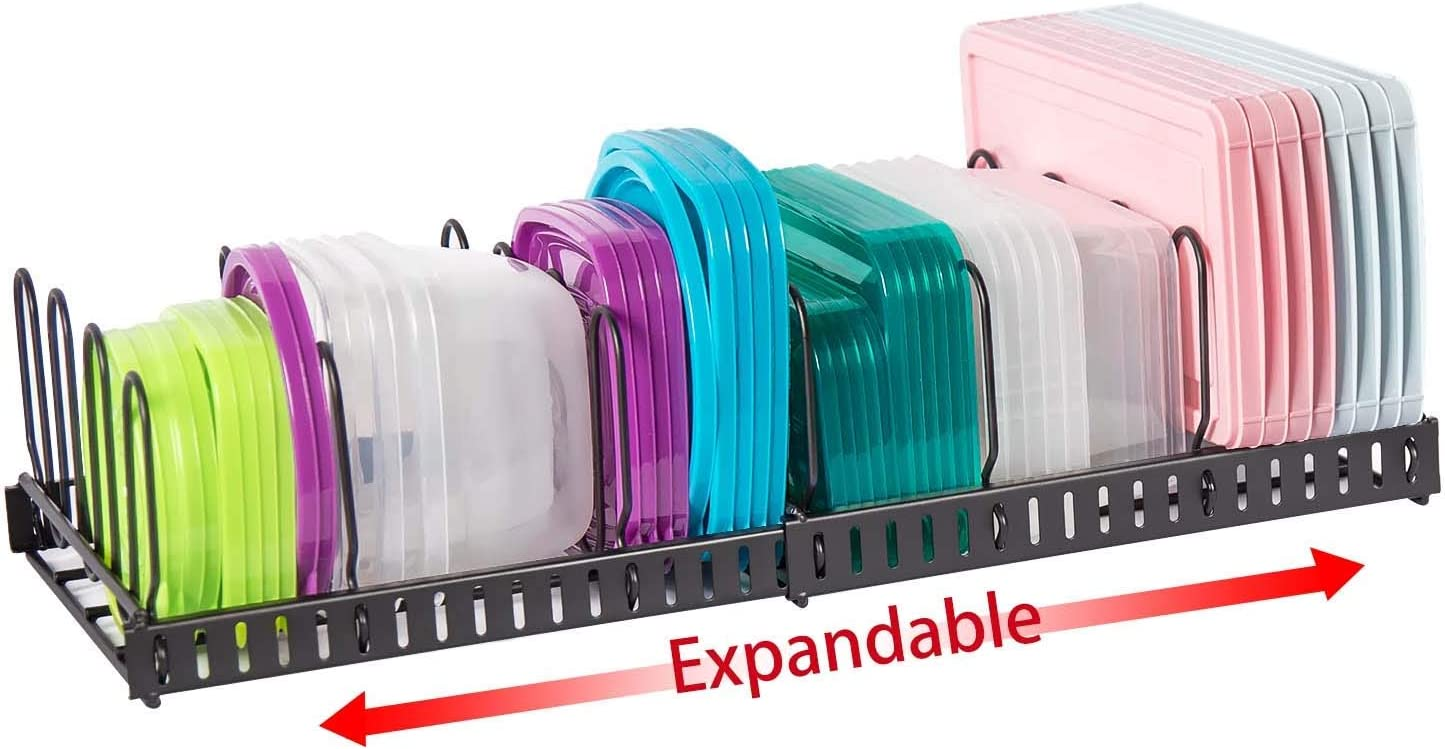 Expandable Food Container Lid Organizer,Large Capacity Adjustable 10 Dividers Detachable Lid Organizer Rack for Cabinets, Cupboards, Pantry Shelves, Drawers to Keep Kitchen Tidy,Black(Patent Pending)