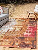 Unique Loom Outdoor Collection Rustic Abstract Vintage Transitional Indoor and Outdoor Multi Area Rug (8′ x 11′)