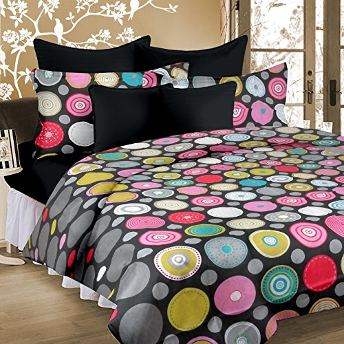 cotton double bedsheet with 2 pillow covers grey black