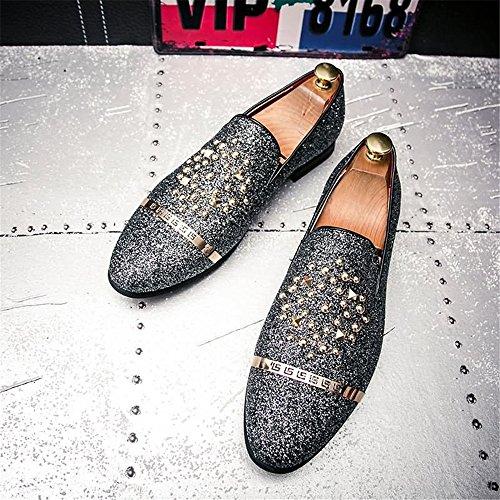 Sunny Dimensione britannica Baffi 43EU scintillanti Resistente lacci da Silver moda scarpe con Colore all'abrasione e amp;Baby uomo di casual Nero rA1q0Twr