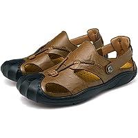 Moodeng Homme Sandales de Randonnée de Trekking en Véritable Cuir Sport Et Chaussures de Plein Air Bout Fermé Pêcheur Sandales Été