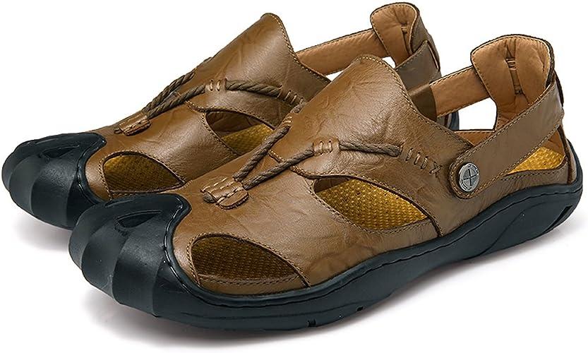 Homme Sandales de Randonnée de Trekking en Véritable Cuir Sport Et Chaussures de Plein Air Bout Fermé Pêcheur Sandales Été