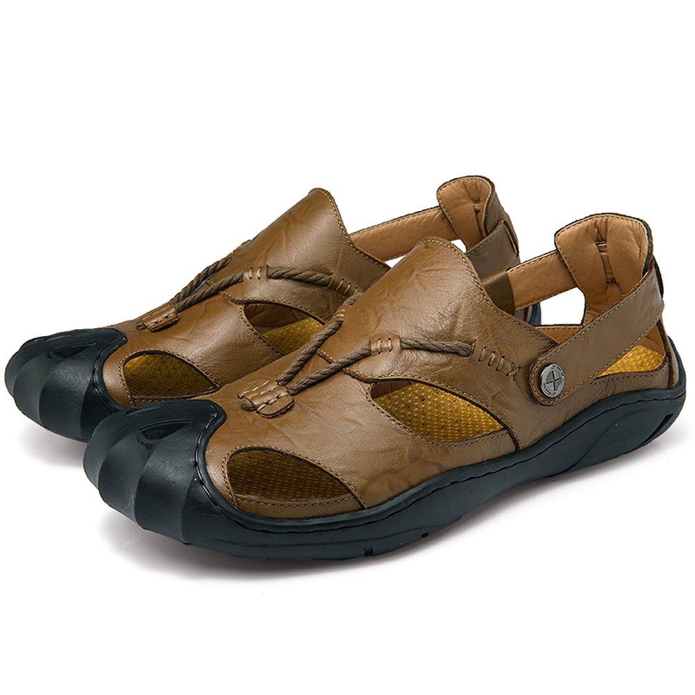 Moodeng Herren Leder Sandalen Sommer Sport Sandalen Outdoor Sandalen Trekking Sandalen Fischer Atmungsaktive Sandale Groszlig;e Grouml;szlig;e  UK 7=EU 40|Khaki