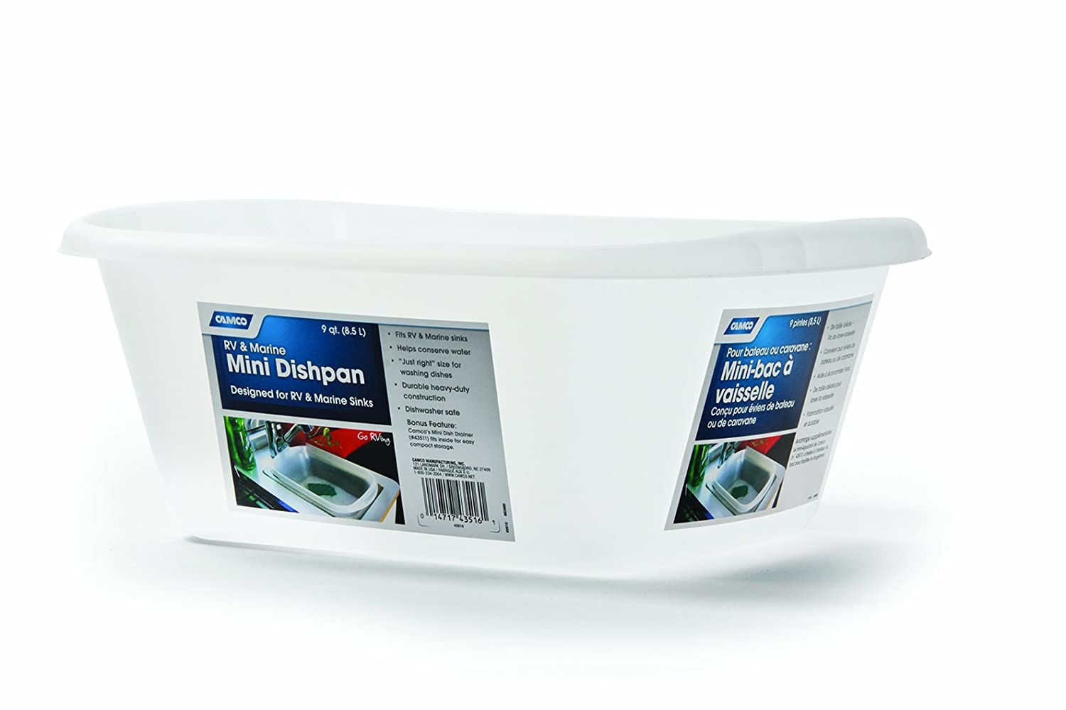 Camco Mini Dish Wash Pan - Perfect for RV Sinks, Marine Sinks, Compact Kitchen Sinks, Camping and Outdoors - White (43516)