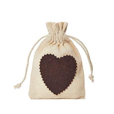 10 bolsas de algodón con corazón de fieltro y cordón de algodón, bolsita para regalo de San Valentín, día de la madre, día del padre o Pascua (15x10cm): Juguetes y juegos