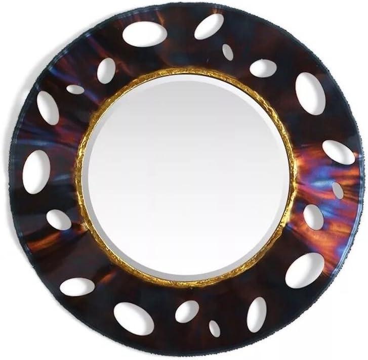 BoPin 鍛鉄ウォールマウントラウンドホローアイアン厚いゴールドインレイハンド研削焼成プロセスすべての機会のためのソリッド溶接ステレオウォール装飾ミラー 装飾的な鏡