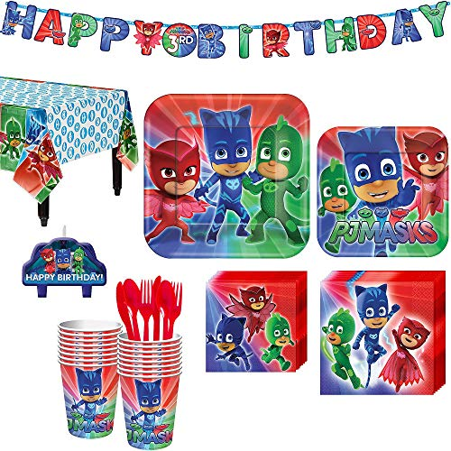 PJ Masks Birthday Party Kit, Includes Happy Birthday Banner and Birthday Candles, Serves 16, by Party City