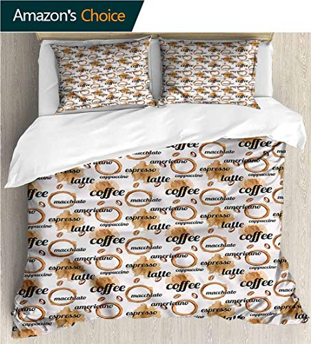- Bedding Sets Duvet Cover Set,Box Stitched,Soft,Breathable,Hypoallergenic,Fade Resistant Bedspreads Beach Theme Quilt Cover Children Comforter Cover-Coffee Latte And Espresso Quote (79
