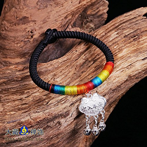Buddhism Buddha with handmade ethnic jewelry long life and prosperity lock access to safe knot colored rope bracelet Diamond Paul ()