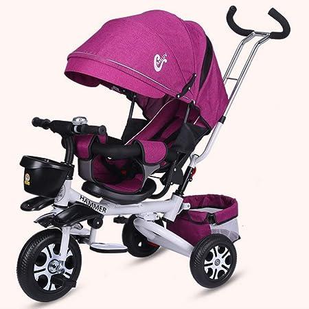 Opinión sobre Los Niños De Bicicletas Plegables Portátiles Al Aire Libre De Tres Ruedas del Cochecito De Bebé De Viaje De Bicicletas Paraguas del Coche (Color : Púrpura, Size : A)