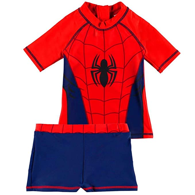 8eb34066aac81 Spiderman Marvel 2 Piece Swim Suit Set Top   Shorts Childs Boys Navy  Swimwear  Amazon.co.uk  Clothing