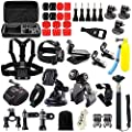 Iextreme 48-in-1 Action Camera Accessories Kits for Gopro 4/3/2/1 SJ4000 SJ5000 Accessory Bundles with Chest Harness Mount/Suction Cup Mount/Selfie Stick/Folating Hand Grip from Iextreme