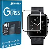 TERSELY Full Cover Screen Protector for Apple Watch 5, Premium High Sensitive Tempered Glass 9H Hardness Full Coverage Screen Protector Film Guard for Apple Watch iWatch Series 5 44mm- Black