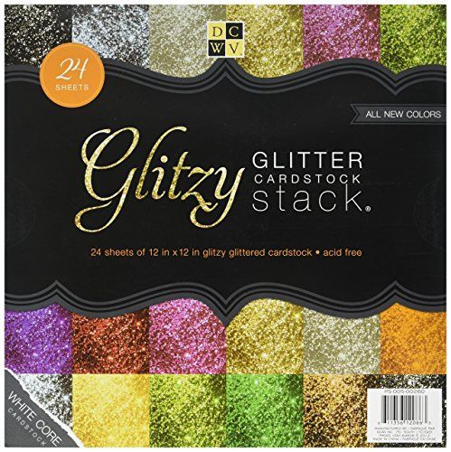 DCWV The Glitzy Glitter Cardstock Stack 12 in x 12 in 24 sheets total 6 solid colors of premium glitzy craft -