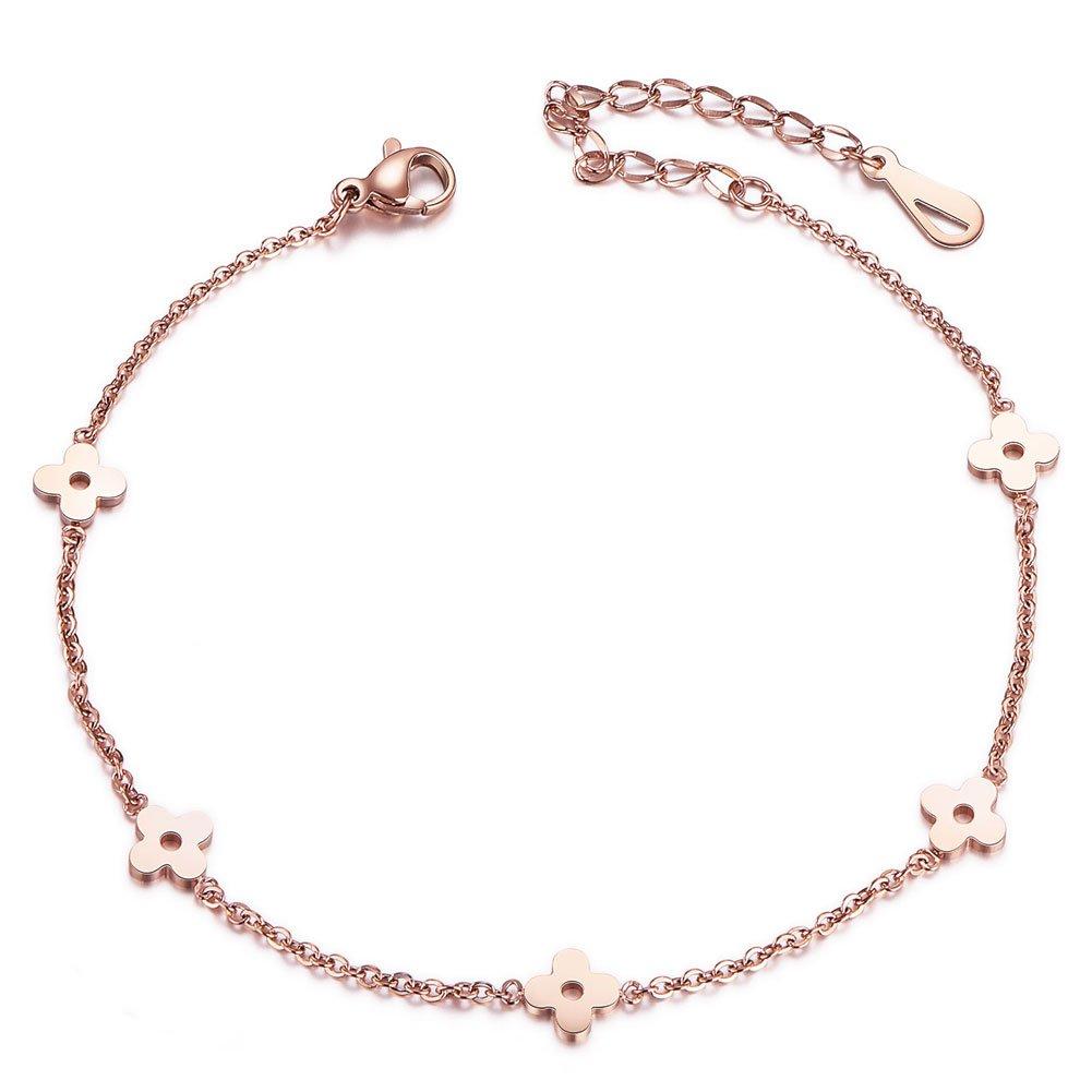 SHEGRACE Flower Charm Anklet for Women Girls Rose Gold Anklet Bracelet