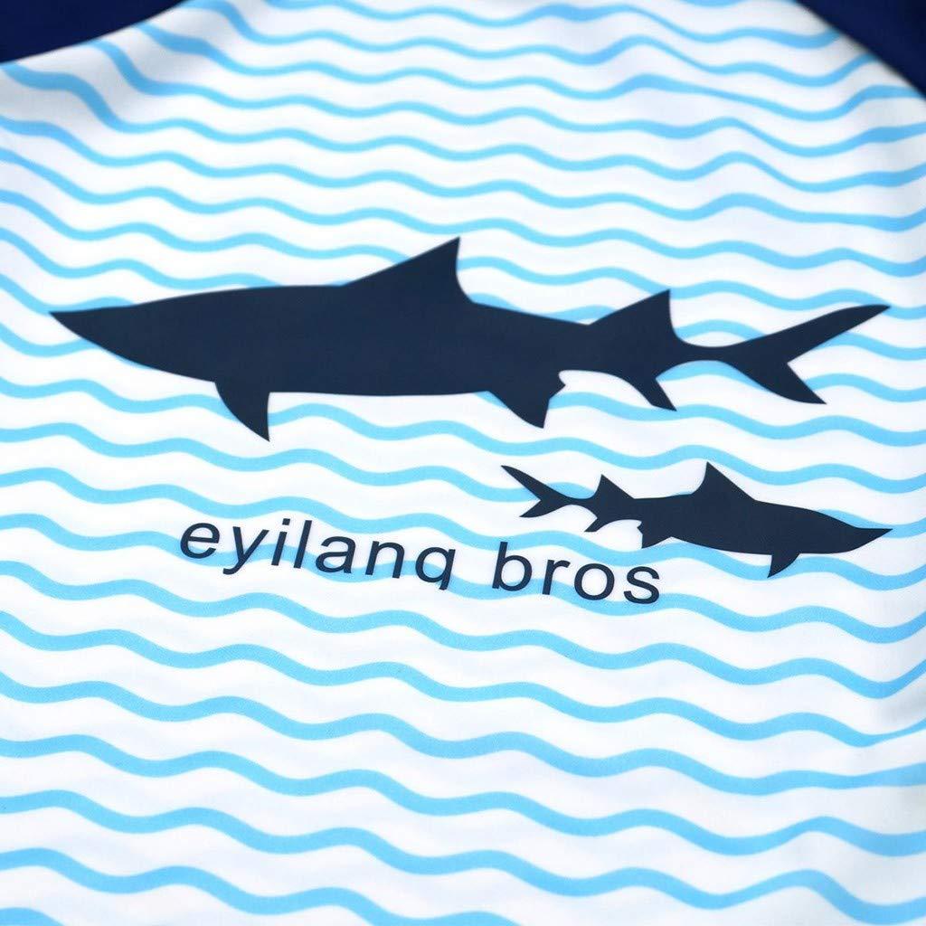 LIKESIDE Children Kids Boys Girls Cartoon Shark Top+Wave Shorts+Hat Sunsuit Swimwear Sets