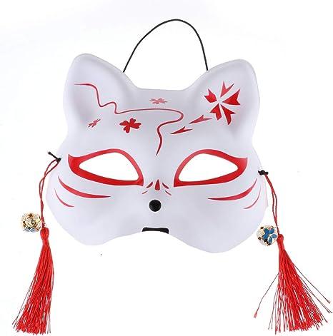 iiniim Máscara de Zorro de Media Cara para Adultos japoneses ...
