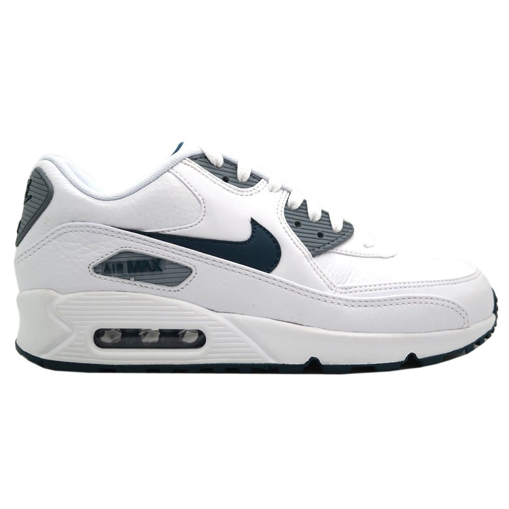 Nike Men's Air Max 90 LTR White/Space Blue/MGNT Grey/Blk Running Shoe 10 Men US