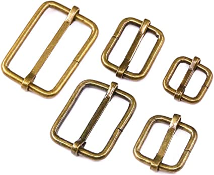 20MM GOLD COLOUR LEATHER CRAFT// BELT MAKING // 10 X BUCKLE /& KEEPER WITH CHAIN