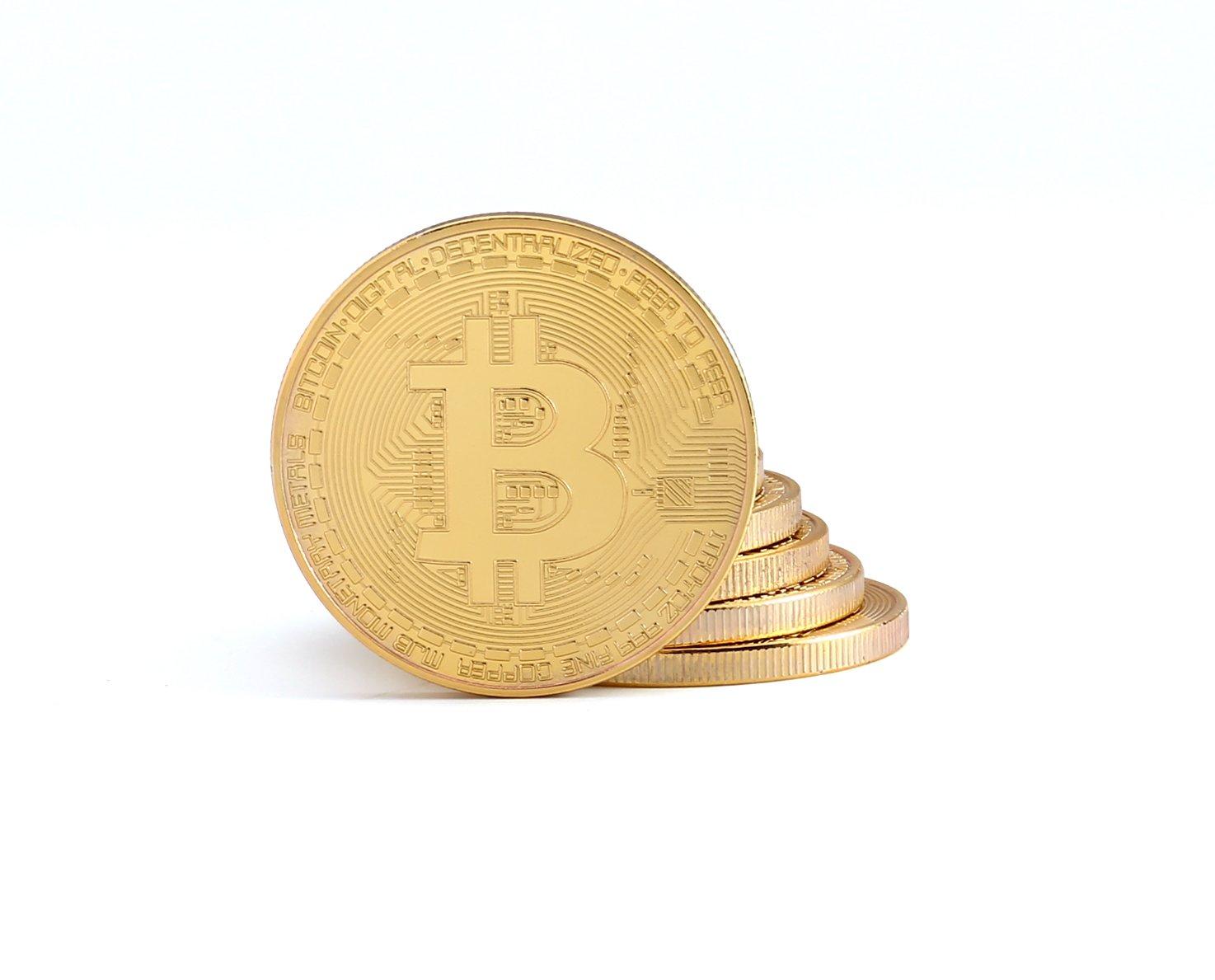 2X Moneda de Bitcoin física con Chapado en Oro Real de 24 Quilates | Pieza de coleccionista verdadera con Funda Protectora