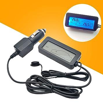 MASO - Reloj Digital Universal para salpicadero de Coche con luz Negra y Pantalla LCD,