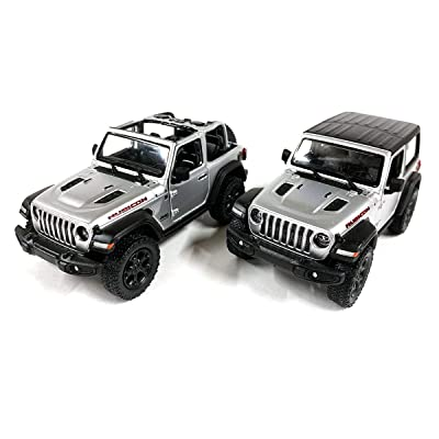 Set of 2 Jeep Wrangler Rubicon 4x4 Hard Top and Convertible Off Road Exploration Diecast Model Toy Cars in Silver: Toys & Games